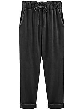 Pantalones De Lino Para Mujeres Pantalones Chinos Casual Talla Grande Pantalón Cintura Elástica