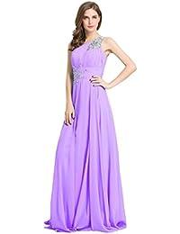 Beauty-Emily femmes longues en mousseline asymétrique à Paillettes de robes de soirée