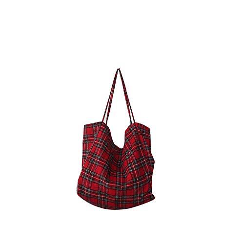 YWJHY Bolso de Tela Escocesa de Gran Capacidad, Moda Casual, Cuadros clásicos,Rojo,Un tamaño