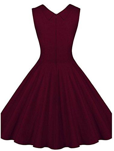 Dissa M116918D Robe de bal Vintage pin-up 50's Rockabilly robe de soirée cocktail,S-XXXXL Vin rouge