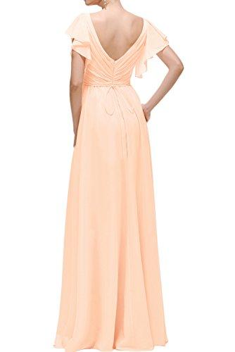 Sunvary Fashion V-Neck Neu Chiffon Abendkleider Ballkleider Partykleider Lang Gelb