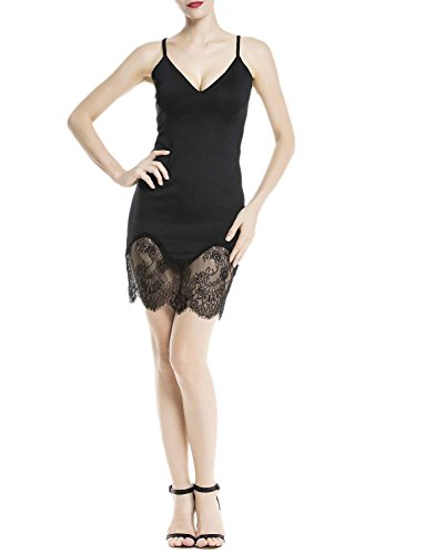 iB-iP Femme Sheer Lace Jambes Spaghetti Strap Vague Hem Mini Robe Moulante Noir