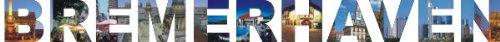 PEMA INDIGOS UG - Wandtattoo Wandsticker Wandaufkleber - Aufkleber farbige Wandschrift Städtename Städtename Bremerhaven mit Sehenswürdigkeiten 180 x 16 cm Länge