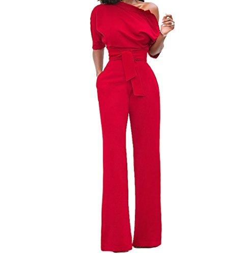 Voghtic Damen Elegante Halbe Hülse weg von den Schulter Overalls Hoher Taillenspielanzug mit Gurt