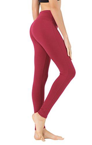 Queenie KE Leggings da Allenamento per Pantaloni da Yoga Flessibili da Donna Colore Vino Rosso Taglia S