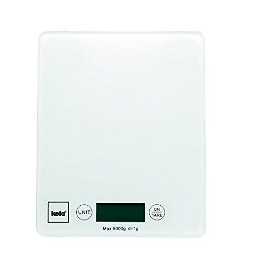 Kela 15740 Digitale Küchenwaage, Glas, 1 g-Feineinteilung, Tara-Funktion, Bis 5 kg Gewicht, Pinta, Weiß
