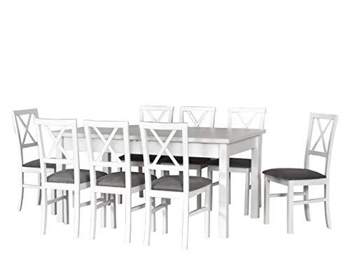 Mirjan24  Esstisch mit 8 Stühlen DM23, Sitzgruppe, Tischgruppe, Esstischgruppe, Esstisch + Stuhlset, Esszimmer Set, Esszimmergarnitur, DMXZ (Weiß/Weiß + Inari 91) -