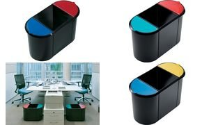 helit Corbeille à papier système Trio, oval, PE, noir/rouge/