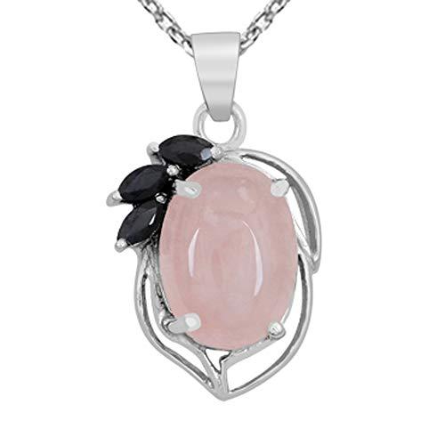 Collar con colgante de cuarzo rosa y zafiro, de Orchid Jewelry, de 12,6 quilates, con colgante de cuarzo rosa, de plata de ley, con colgante de color rosa
