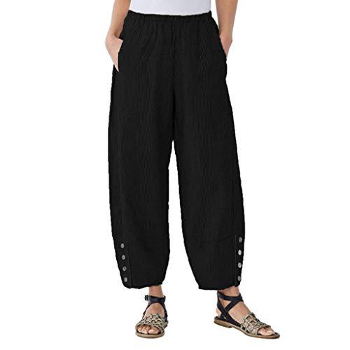 Dasongff Sommerhose Damen Leicht Ethnisch Stil Weite Bein Lange Hose Lockere Stripe Prints Haremshose Hohe Taille Hip Hop Freizeithose Casual Streetwear -