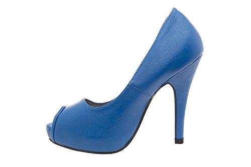 Andres Machado - AM239SOFT - Peeptoe Pumps aus blauem Leder. 11 cm Absatz. AM239SOFT Blau