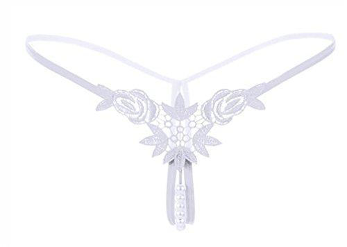 Boowhol Frauen Unterwäsche Perlen Stickerei Blume Spitze Tanga T-Thong Perspektive Reizvolle Niedrige Taille Weiß