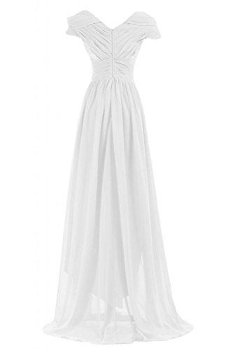 Sunvary Graceful madre della sposa con scollo a V, maniche corte, per damigella d'onore abito Pageant Gowns Bianco