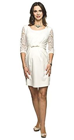 Elegantes und bequemes Umstandskleid, Brautkleid, Hochzeitskleid für Schwangere Modell: AMBER, creme, L