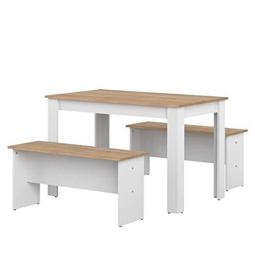 Movian Kama - Juego de mesa de comedor con 2 bancos, 110 x 70 x 73cm (largo x ancho x alto), roble y blanco