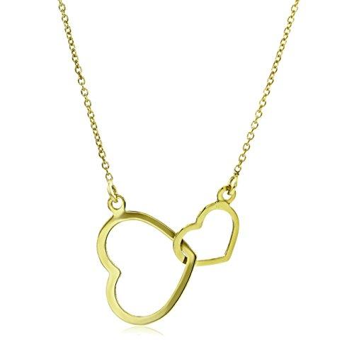 Miore Kette - Halskette Damen Gelbgold 9 Karat / 375 Gold Kette mit Herz  45 cm