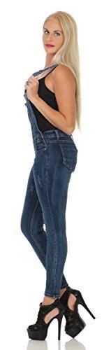 Fashion4Young Damen Latz Jeans Jeanslatzhose Röhrenhose m. Trägern Latz Hose Overall 11383-blau