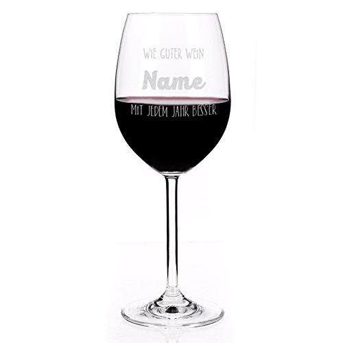 Privatglas Leonardo Weinglas mit Spruch - Wie guter Wein - mit Gravur des Namens zum Geburtstag