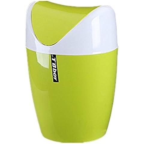 Moolecole Creativo Plástico Mini Cubo De Basura Cubo De La Basura Escritorio De Oficina Mesa De La Cocina Cubo De La Basura Bote De Basura Verde