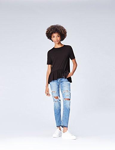 FIND Damen T-Shirt mit asymmetrischem Schößchen Schwarz