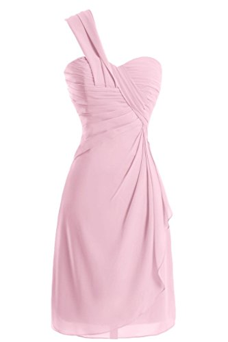 Sunvary a-line One-Shoulder Ruched garza vestiti Homecoming cocktail Rosa