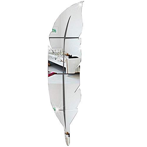 YIQI Pluma Brillante Etiqueta de La Pared Espejo, 3D Moderno Decorativo Espejo Extraíble Arte...