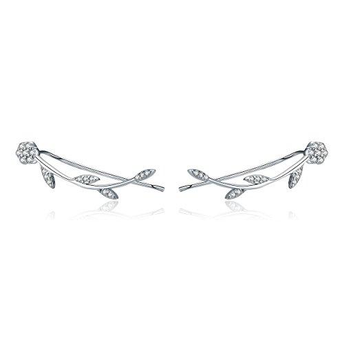 925Sterling Silber Olive Blätter Crawler Ohrringe Climber Ohren für Frauen Teen Mädchen Fashion Ohrringe