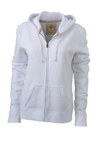 James & Nicholson Damen Sweatshirt Kapuzenjacke Ladies' Vintage Hooded Sweatshirt White