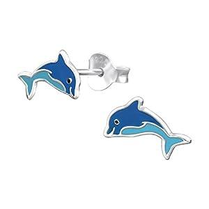 Laimons Mädchen Kids Kinder-Ohrstecker Ohrringe Kinderschmuck Delphin Delfin Tier Fisch Blau Hellblau aus Sterling Silber 925