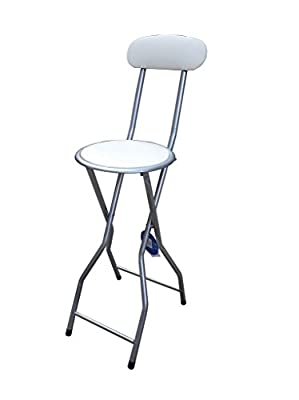 New Quality Folding Breakfast Bar Stool Office Kitchen Parties High Chair Cream & Silver