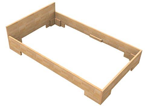 Baßner Holzbau 27mm Echtholzbett Massivholzbett Buche 100×200 Fuß II 30cm Rahmenhöhe
