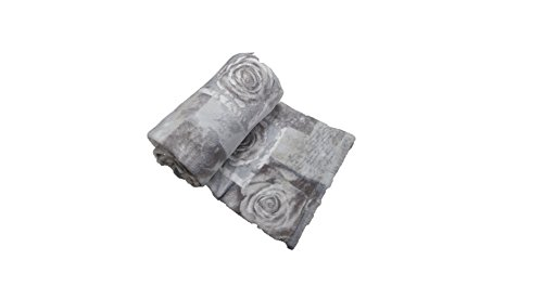 Morbida Coperta Plaid in Pile Singolo Matrimoniale Una Piazza e Mezza Fantasia Cuori e Fiori (Rose Grigio, 160x210)