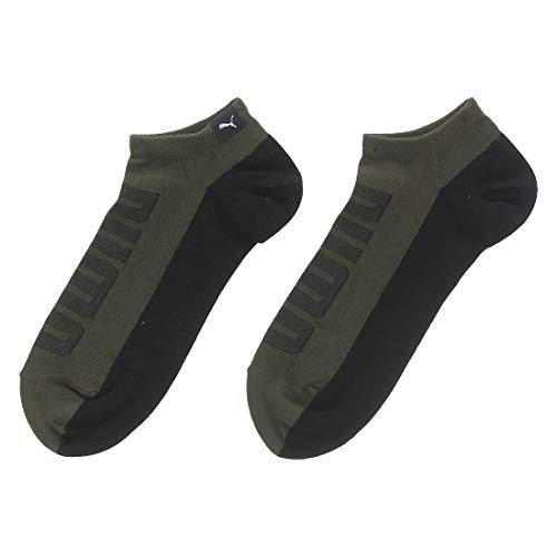 PUMA Men's Synthetic Athletic Socks (Pack of 2) (IN91018702_Olive Green/ Black_39/42)