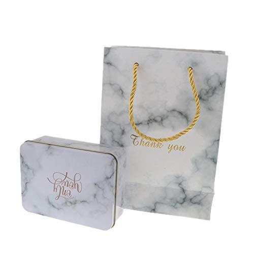 P Prettyia Marmor Geschenkbox Geschenkkarton Bonboniere Süßigkeiten Schachtel Kekse Karton, aus Metall und Papier - S - Grau
