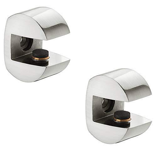 Gedotec DESIGN Glasbodenträger Tablarträger Glastablarträger Modell Gloria | Edelstahl Optik | Regalbodenträger für Holz und Glas | Fachbodenträger für Tablardicke 8-10 mm | 2 Stück