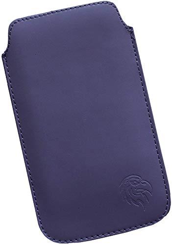 Dealbude24 Schutz Tasche für Samsung Galaxy A50, Pull tab Hülle Handy herausziehbar, dünnes Etui genäht mit Rausziehband, innen weiches Microfaser mit exklusivem Adler Motiv XXL Dunkel-Lila