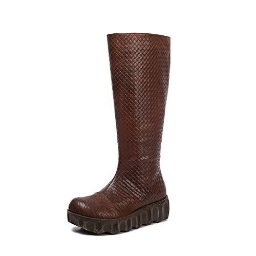 DANDANJIE Womens Knee Boots Keilabsatz Vintage Style Stiefel mit weben oberen Schuhe für Herbst und Winter (Farbe : ONE Color, Größe : 39 EU) (Vintage-style-schuhe Womens)