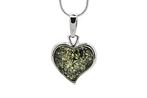 925 Sterling Silver Heart Pendant Necklace with Genuine Natural Baltic