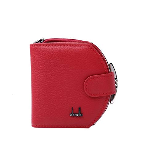 Cvthfyk mini leather ladies portafoglio donna con cerniera in pelle borsa in pelle di mucca cina rossa lady purse (color : red)
