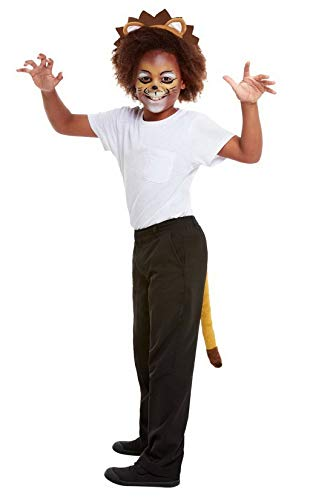Luxuspiraten - Kostüm Accessoires Zubehör Kinder Schminke Löwe Set incl. Ohren und Schwanz, Make Up Lion Kit with Ears and Tail, perfekt für Karneval, Fasching und Fastnacht, Braun