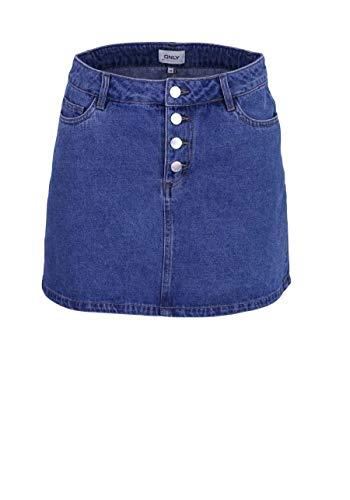 ONLY Damen Rock Lilja Blue Denim S (36) - Button-fly Baumwolle Rock
