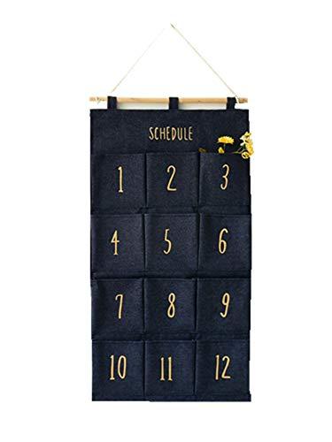 Kereith Wandhängende Taschen-Organizer Vintage Denim Stoff über Tür Aufbewahrungstaschen mit 12 Fächern, platzsparende Tasche für Zuhause, Büro, Wohnheim