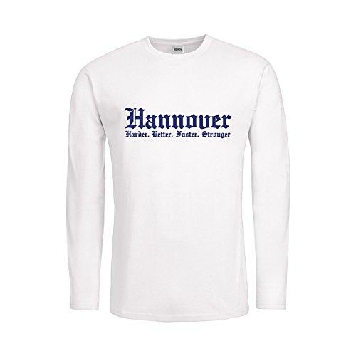 MDMA Men T-Shirt Longsleeve Hannover Harder, Better, Faster, Stronger mdma-mtls00283-96 Textil white/Motiv violett Gr. S