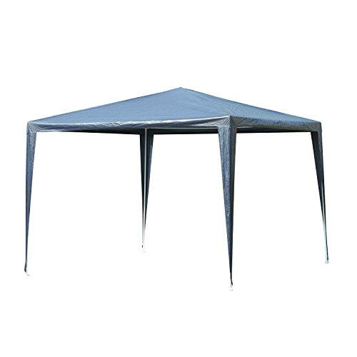 Carpa Desmontable Impermeable 3x3x2,45m Pabellón de Jardín de Tubo de Acero Pérgola de Color Azul Oscuro