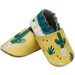 CLUB4BRANDS - Chaussures à Semelle antidérapante, Chaussons de Marche Quatre Pattes, Chaussures bébé, Chaussons Cuir Souple 0-24 Mois, Semelle Daim (16/17 0-6 Mois, Cactus)