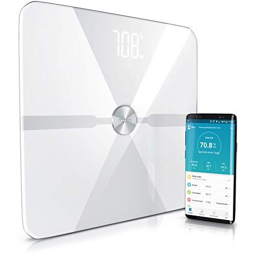 Mybeo - Körperfettwaage Bluetooth | Digitale Multifunktionswaage | Körperanalysewaage mit App | Körperwaage | Personenwaage | für iOS und Android | Bestimmung von BMI, Körperfett uvm. | weiß