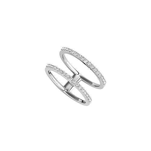 Two Parallel Band Style Designer CZ Ring 14K White Gold