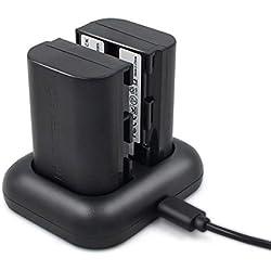 ENEGON Batterie de Rechange (2 Paquets) et Chargeur Double Rapide pour Canon LP-E6, LP-E6N et Canon Canon EOS 5D Mark II/III/IV, 5DS, 5DS R, 6D, 7D, 7D Mark II, 60D, 60Da, 70D, 80D, XC10