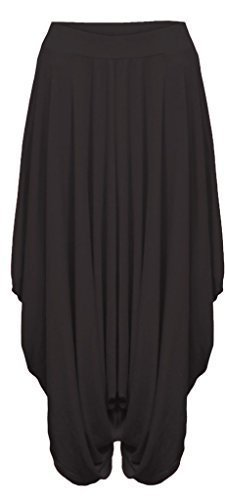 hf-girl-women-ladies-plain-lagenlook-harem-loose-fit-stretchy-comfy-ali-baba-aladin-trousers-pants-b