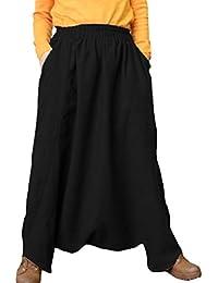 Mujer Pantalones de Harén Cintura Elástica Confortable Lino Pantalones de  Nueve Puntos Calle Moda Pantalones de Hip Hop Suelto Casual… fc5897ca646